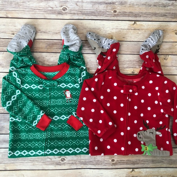 Carter s Other - CARTER S Lot of 2 Holiday Fleece Footed Pajamas 2T 102e166b5